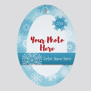 Snowflake Personalized Oval Ornament